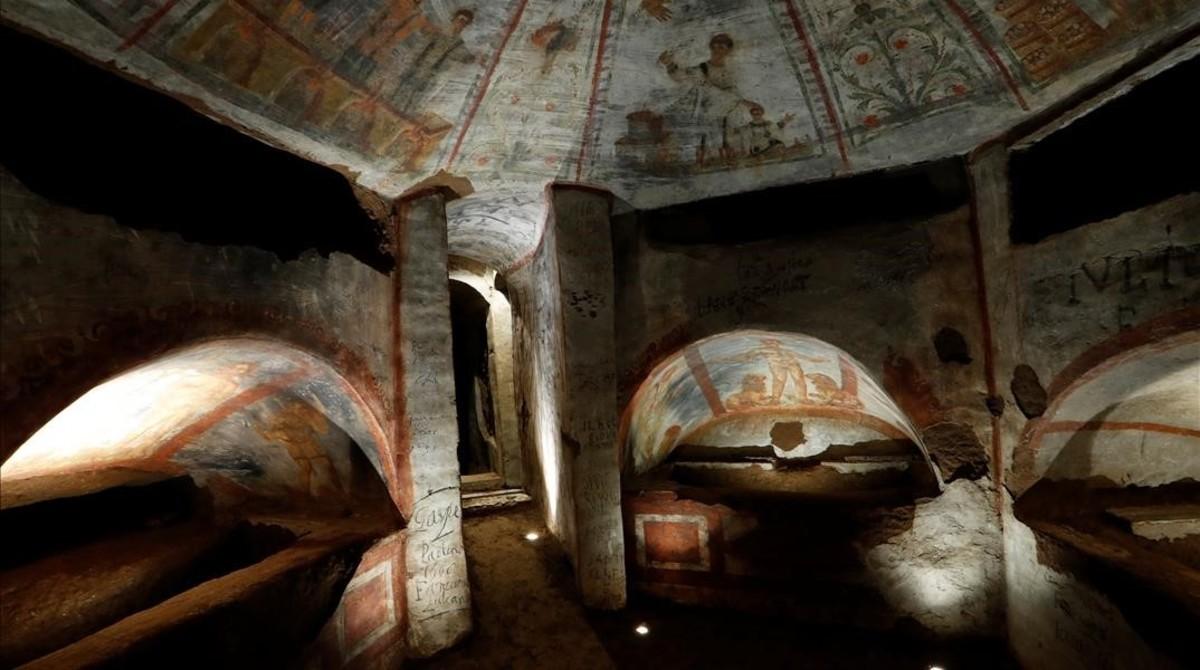 El láser devuelve el esplendor a los frescos de las Catacumbas de Domitila - #Roma 5