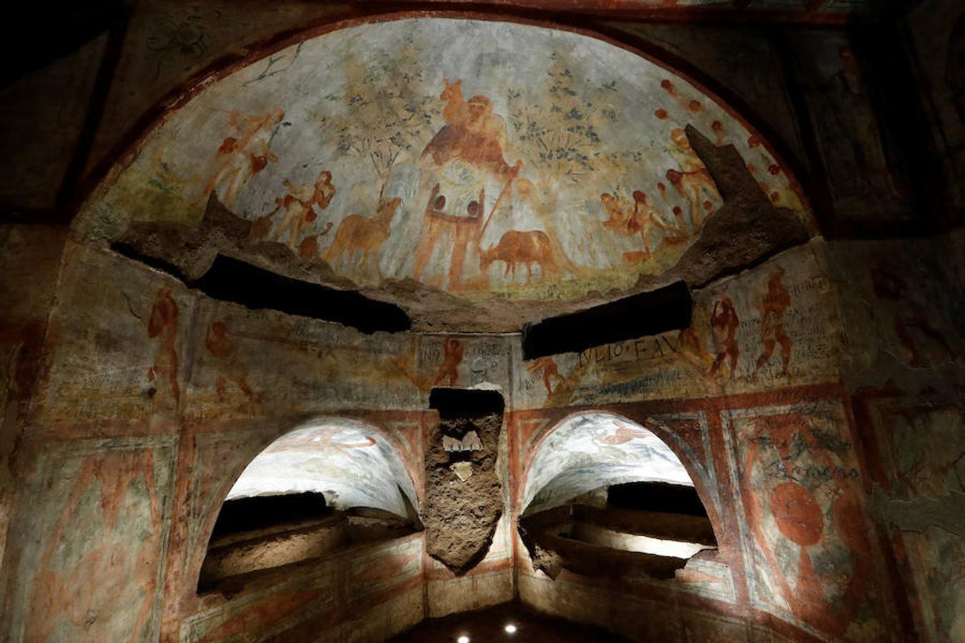 El láser devuelve el esplendor a los frescos de las Catacumbas de Domitila - #Roma 3