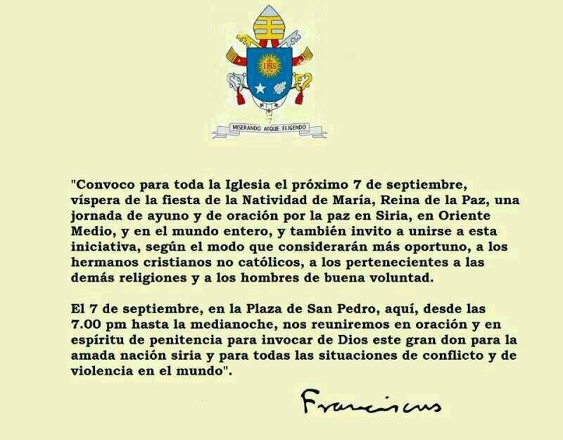 El Papa convoca una jornada de oración y ayuno por la paz 1