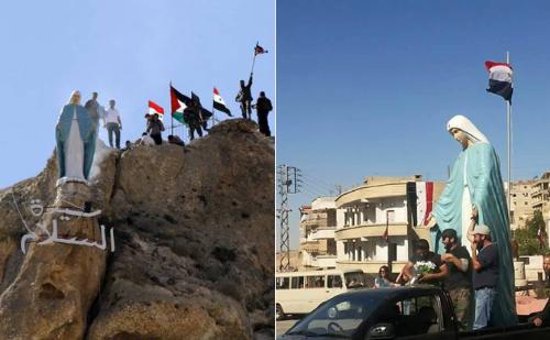 La ciudad siria de Maaloula recupera su estatua de la Virgen María 2