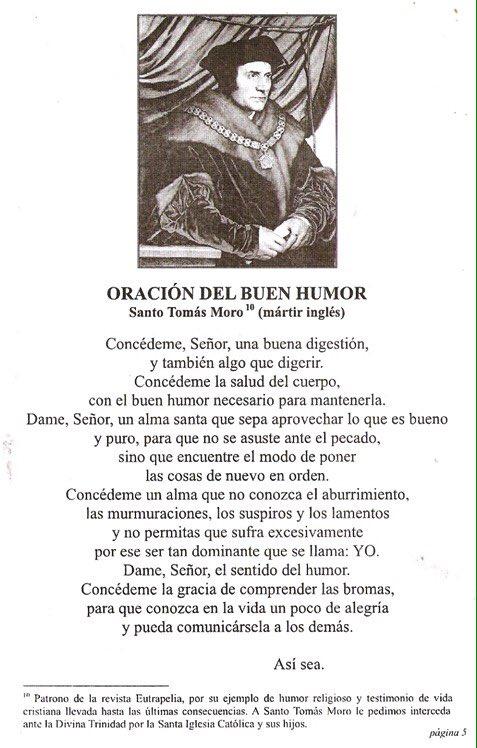 Oración de santo Tomás Moro pidiendo el buen humor y comprender las bromas 1