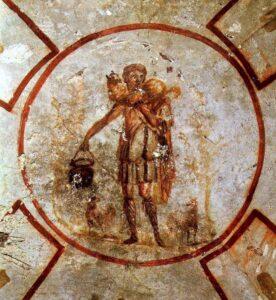 'El Buen Pastor' está en las catacumbas de San Calixto en Roma