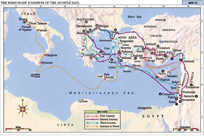 Guía de los viajes de san Pablo según el mapa de hoy 1