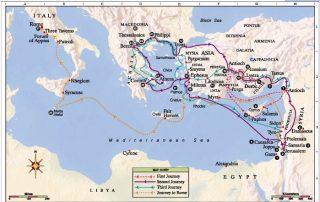 Guía de los viajes de san Pablo según el mapa de hoy 6