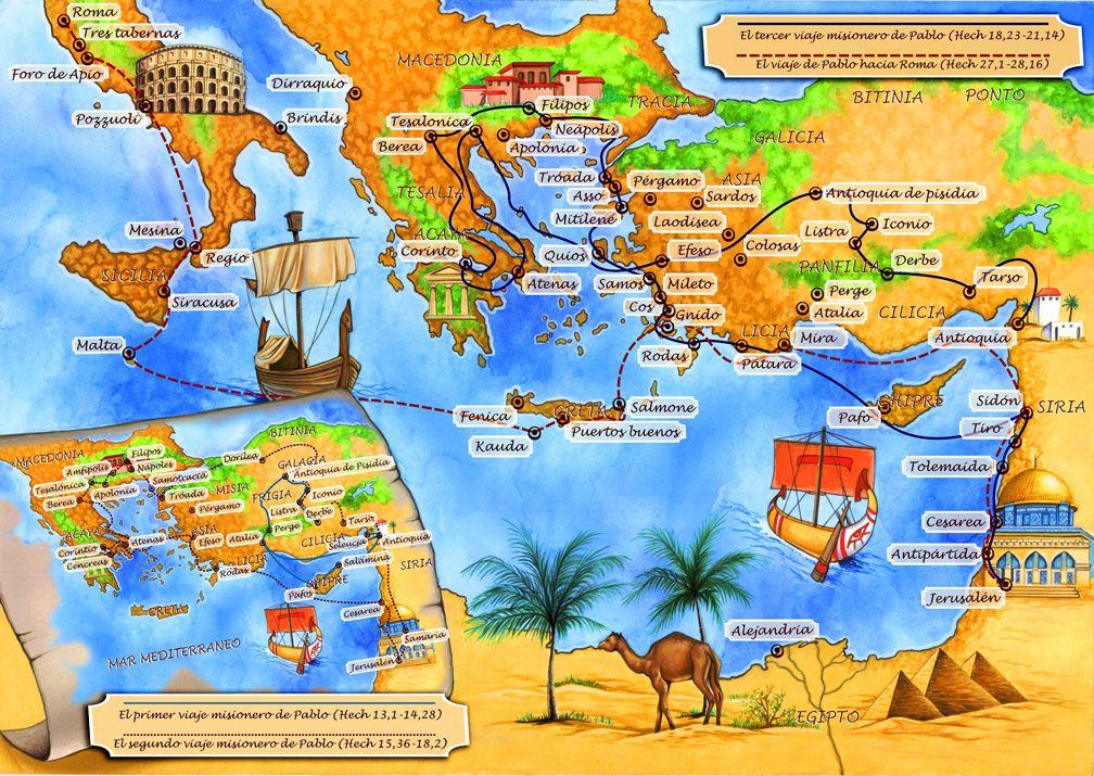 Los viajes de san Pablo - Entre los años 45 al 66 1